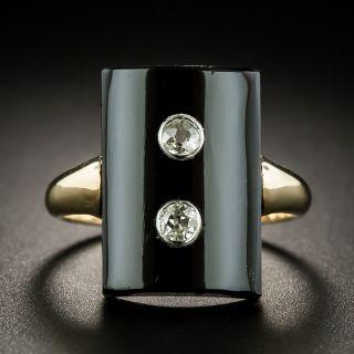 Victorian Onyx Twin Diamond Ring - 1
