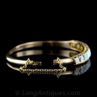 Victorian Opal and Diamond Bangle Bracelet