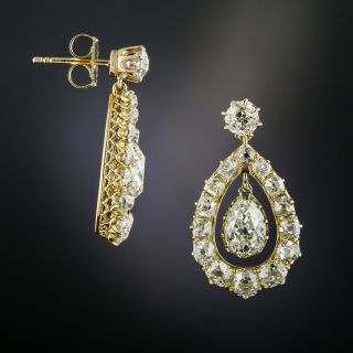Victorian Pear-Shaped Diamond Earrings
