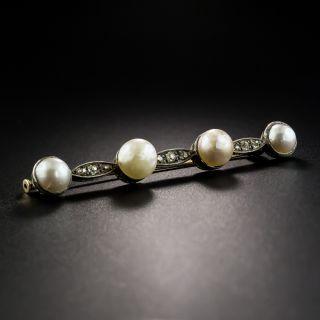Victorian Pearl and Diamond Bar Pin - 2