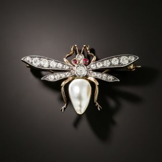 Victorian Pearl and Diamond Bee Brooch - 2