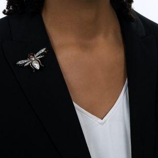 Victorian Pearl and Diamond Bee Brooch
