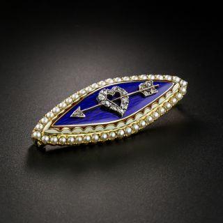 Victorian Pearl and Diamond Enamel Brooch - 2