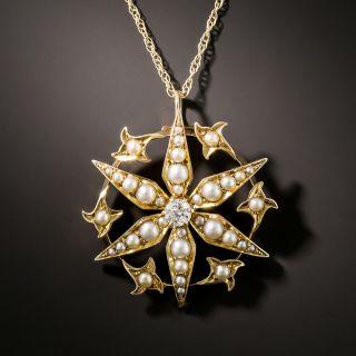 Victorian Pearl and Diamond Starburst Pendant - 2