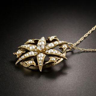 Victorian Pearl and Diamond Starburst Pendant