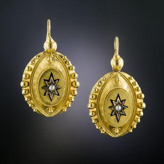 Victorian Pearl and Enamel Earrings - 2