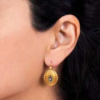 Victorian Pearl and Enamel Earrings