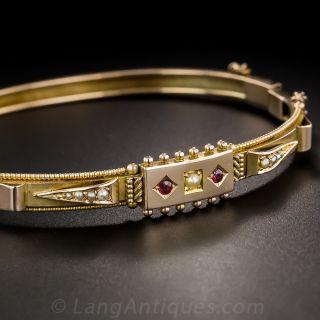 Victorian Pearl and Garnet Bangle Bracelet