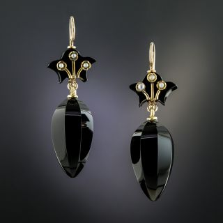 Victorian Pearl and Onyx Earrings - 2