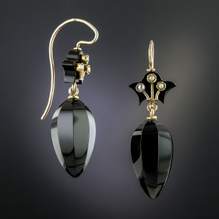 Victorian Pearl and Onyx Earrings