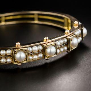 Victorian Pearl Bangle Bracelet - 2