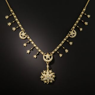 Victorian Pearl Crescent Moon and Star Necklace - 2