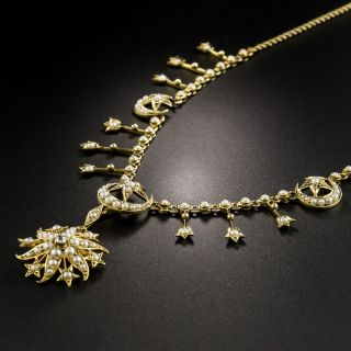 Victorian Pearl Crescent Moon and Star Necklace