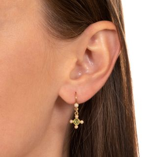 Victorian Peridot and Seed Pearl Petite Dangle Earrings