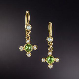 Victorian Peridot and Seed Pearl Petite Dangle Earrings - 1