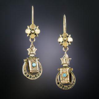 Victorian Petite Gold and Enamel Earrings - 2