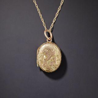 Victorian Petite Oval Engraved Locket - 1
