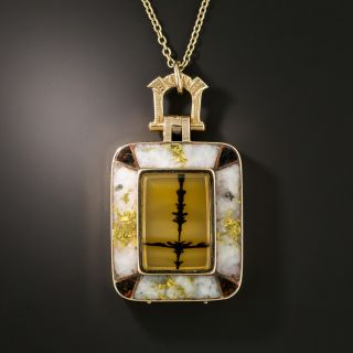 Victorian Picture Agate, Gold-In-Quartz and Bloodstone Locket - 2