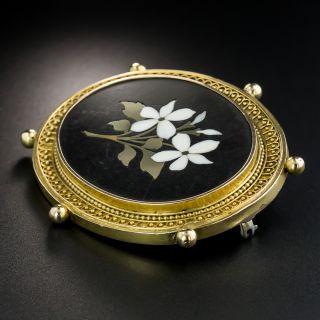 Victorian Pietra Dura Brooch
