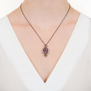 Victorian Pink Topaz and Diamond Pendant