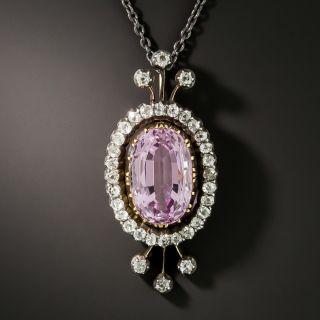 Victorian Pink Topaz and Diamond Pendant - 4
