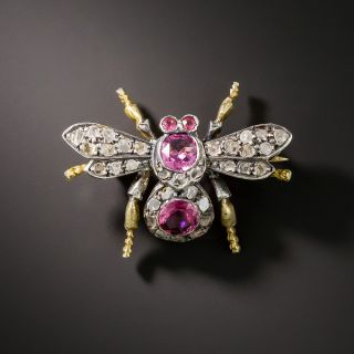 Victorian Pink Tourmaline Diamond Fly Pin - 2