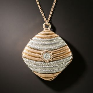 Victorian Platinum And Rose Gold Diamond Locket  - 2