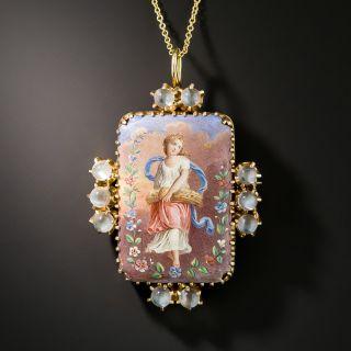 Victorian Porcelain, Enamel and Moonstone Pendant - 2