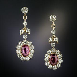 Victorian Purple Sapphire and Diamond Drop Earrings - 1