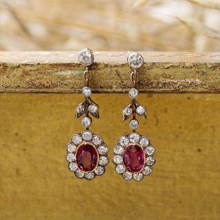 Victorian Purple Sapphire and Diamond Drop Earrings
