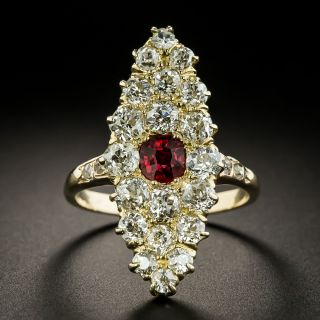 Victorian Red Spinel and Diamond Navette-Shaped Ring - 2