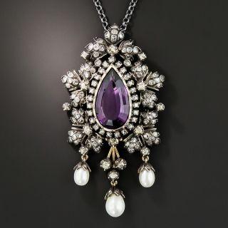 Victorian Retrospective Amethyst Diamond and Pearl Pendant/Brooch - 2