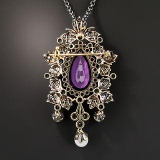 Victorian Retrospective Amethyst Diamond and Pearl Pendant/Brooch