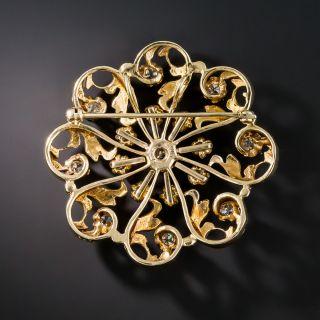 Victorian Retrospective Diamond Black Enamel Brooch