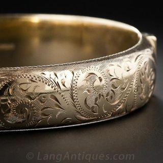 Victorian Retrospective Engraved Gold Bangle Bracelet