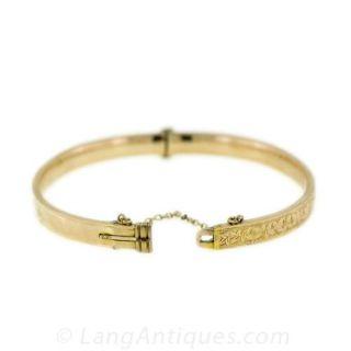Victorian Retrospective Gold Bangle Bracelet