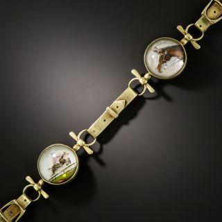 Victorian Reverse Intaglio Crystal Horse and Stirrup Strap Bracelet - 2