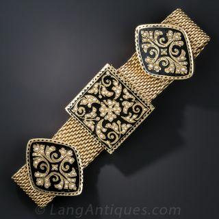 Victorian Revival Black Enamel and Seed Pearl Bracelet