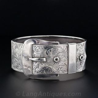 Victorian Revival Silver Buckle Bracelet, English,1939-40