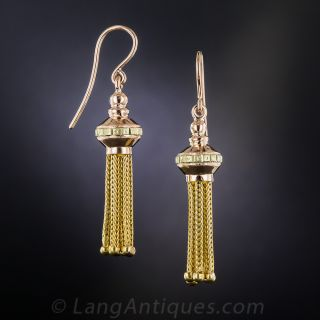 Victorian Rose and Yellow Gold Tassel Earrings