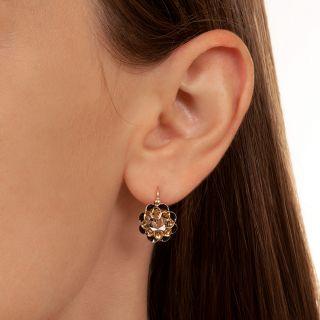 Victorian Rose-Cut Diamond Black Enamel Earrings
