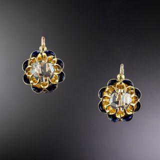 Victorian Rose-Cut Diamond Black Enamel Earrings - 1
