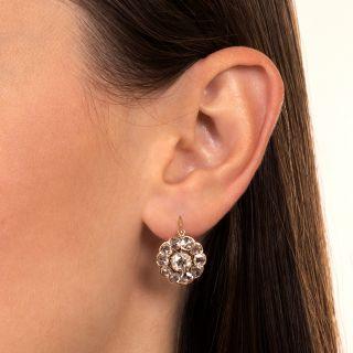 Victorian Rose-Cut Diamond Cluster Earrings