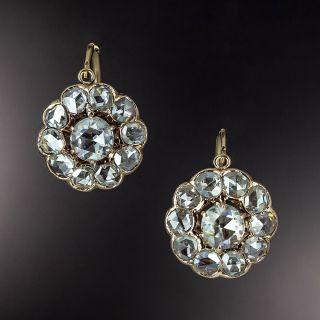 Victorian Rose-Cut Diamond Cluster Earrings - 1