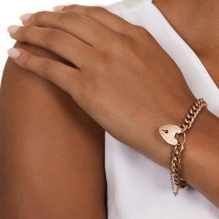 Victorian Rose Gold Padlock Bracelet