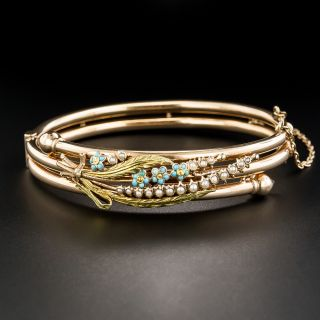 Victorian Rose Gold Turquoise and Seed Pearl Bangle Bracelet