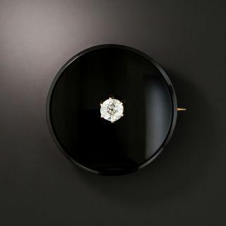 Victorian Round Onyx Diamond Brooch