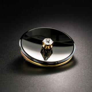 Victorian Round Onyx Diamond Brooch - 4