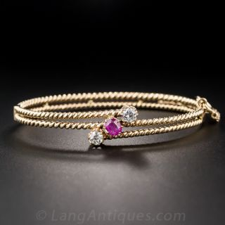 Victorian Ruby and Diamond Bangle Bracelet