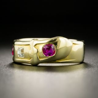 Victorian Ruby and Diamond Buckle Ring